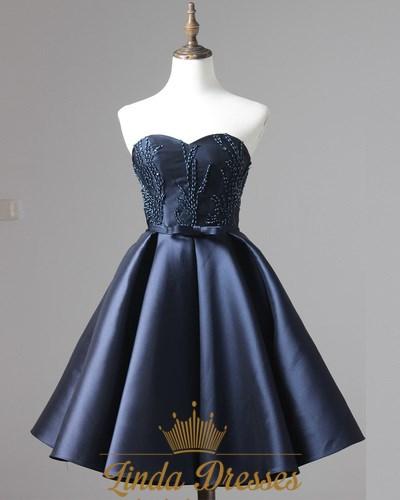 Navy Blue Knee Length Strapless A Line Beaded Satin Homecoming Dress