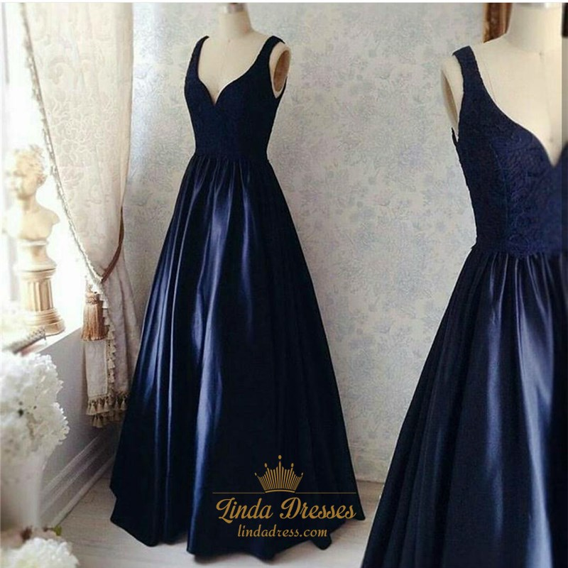 0deccbc16e Navy Blue Sleeveless V-Neck A-Line Lace Bodice Satin Long Prom Dress SKU  -LD0387
