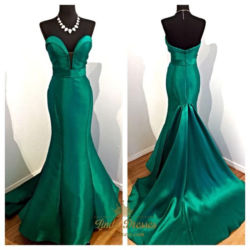 Elegant Emerald Green Plunging V Neck Strapless Mermaid