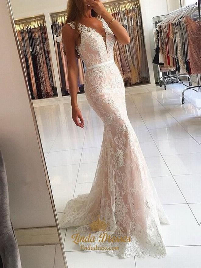 Floor Length Sleeveless V Neck White Lace Overlay Mermaid Evening Gown