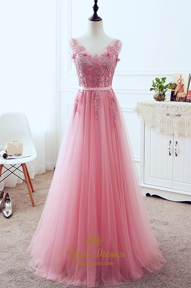 e932f104d89e Sleeveless V-Neck Lace Applique Tulle A-Line Floor-Length Prom Dress SKU  -LD0428