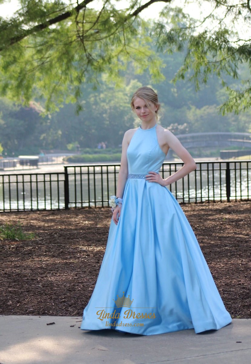 Aqua Blue Elegant Sleeveless A-Line Halter Floor-Length Prom Dress ...