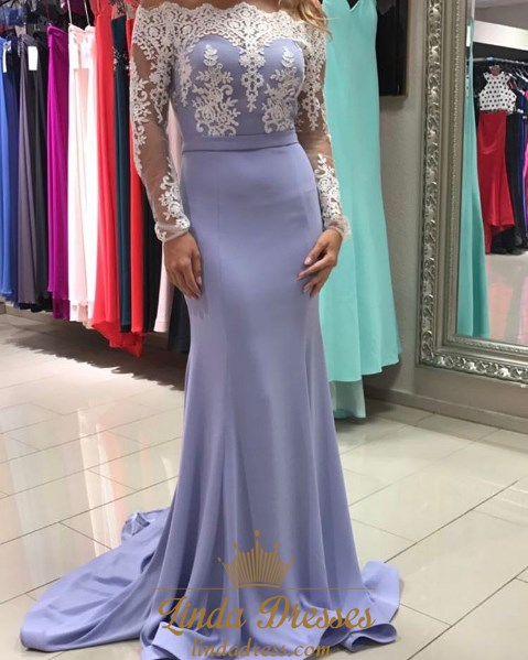 0a387991f09c Off-The-Shoulder Lace Embellished Mermaid Prom Dress With Long Sleeves