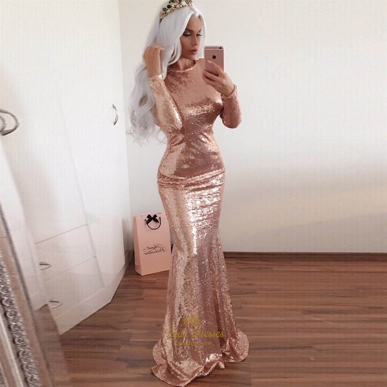 14e72cfde541 Champagne Long Sleeve Full Sequin Mermaid Prom Gown With Open Back SKU  -AP1540