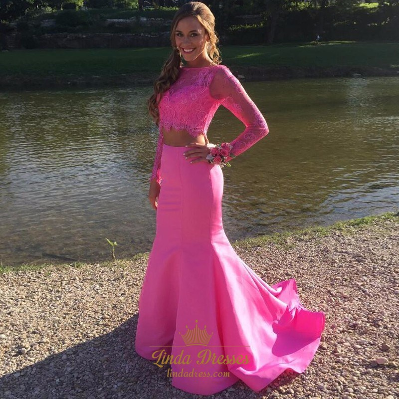 7fa69b0038f Two-Piece Illusion Lace Bodice Mermaid Formal Dress With Long Sleeves SKU  -AP1559