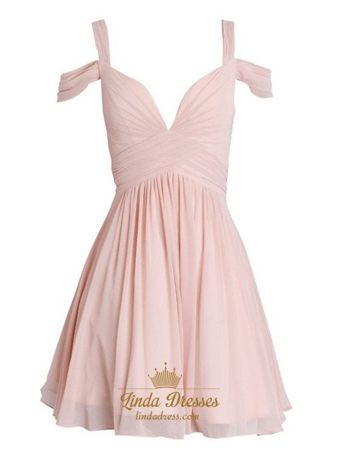 bfe98c905526 Blush Pink Off Shoulder Ruched Chiffon Short A-Line Homecoming Dress SKU  -AP1614
