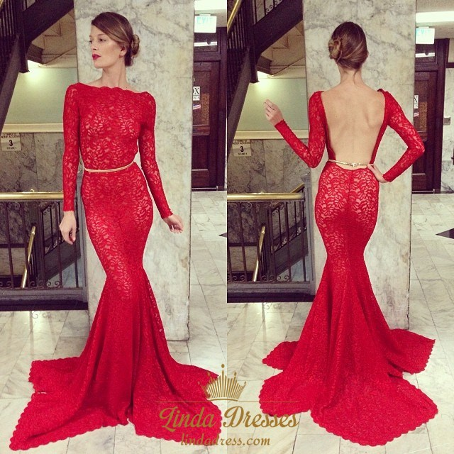 Gorgeous Red Lace Long-Sleeve Mermaid Formal Dress With Open Back ...