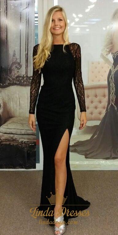 Black Long Sleeve Floor Length Open Back Prom Dress With Side Slit