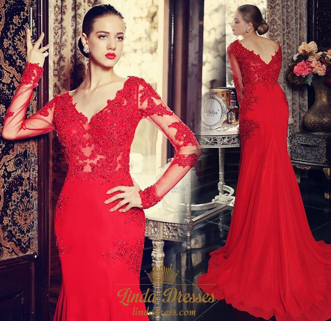 Red Long Sleeve Lace Embellished Chiffon Mermaid Prom Dress With ...