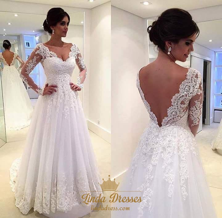 A Line Lace Applique Backless Wedding Dress With Illusion Long