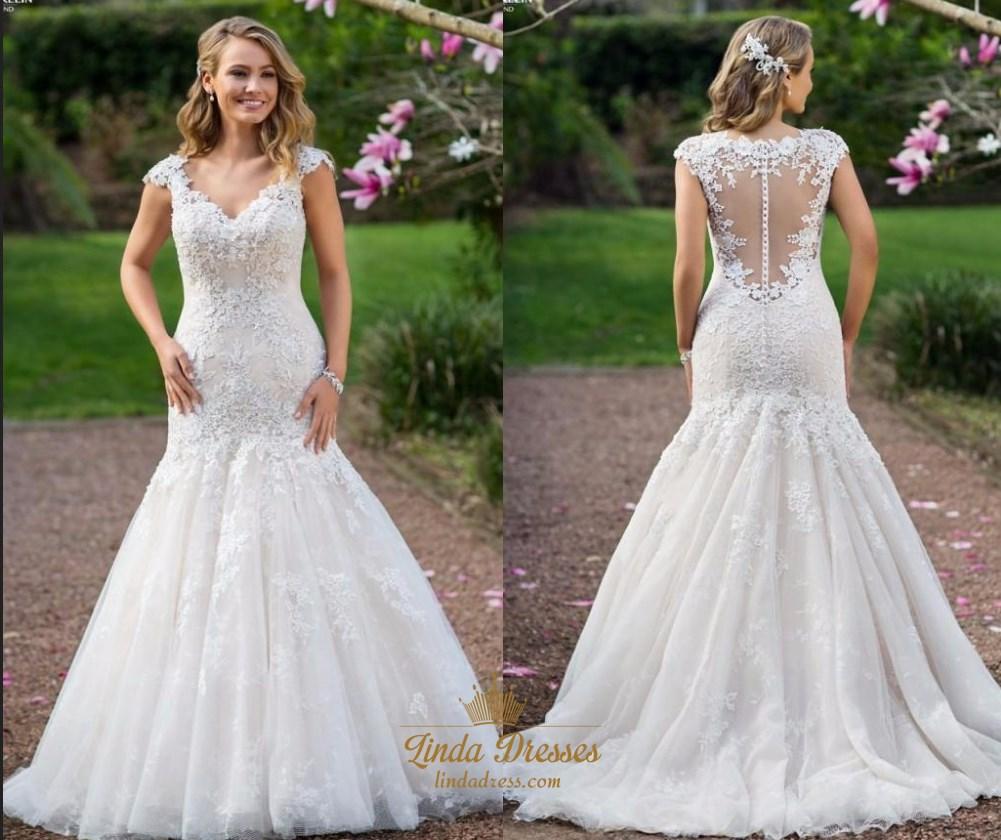 Lace V Neck Backless Wedding Dress Linda Dress