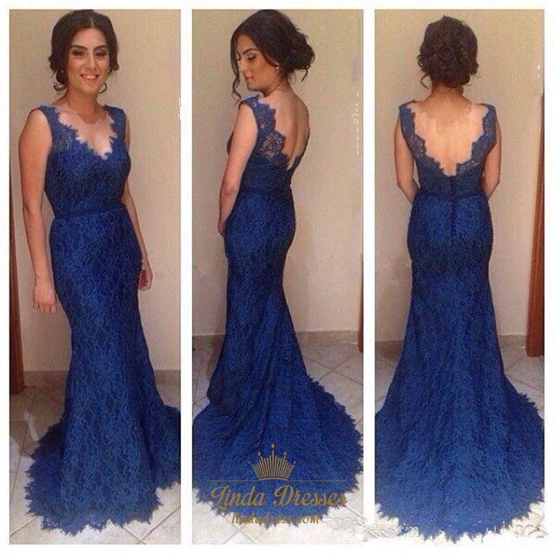 cc058a619ee54 Royal Blue Sleeveless V-Neck Lace Mermaid Prom Dress With Open Back SKU  -AP465