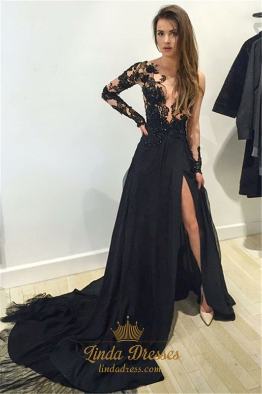 Sheer Black Floral Applique Long Sleeve Chiffon Prom Dress With