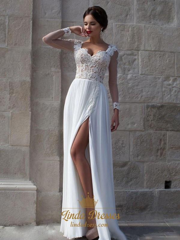 71738669f3c Sheer Long Sleeve White A-Line Lace Chiffon Floor-Length Prom Dress SKU  -AP486