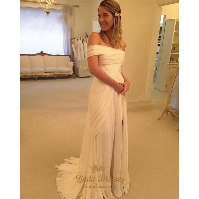 37408dbe86f Elegant White Off-The-Shoulder Chiffon Beach Wedding Dress With Slit SKU  -AP516