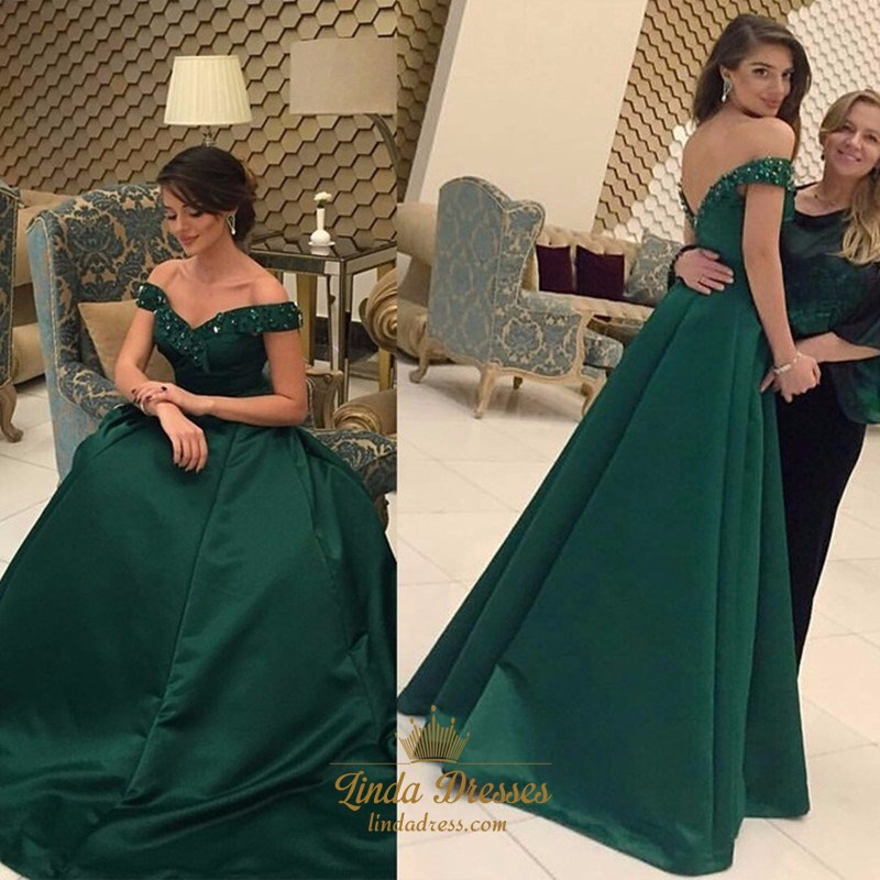 2577a49a73 A-Line Emerald Green Off-The-Shoulder Satin Prom Dress With Open Back SKU  -AP527