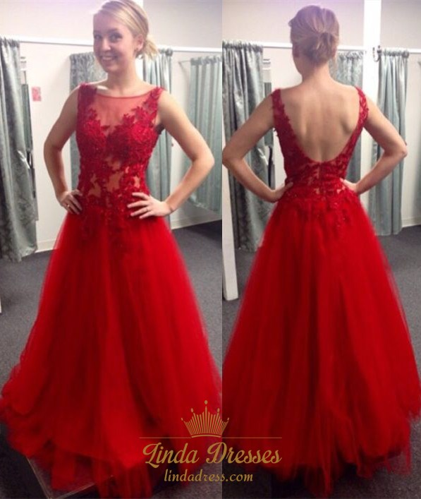 407d6955a3e A-Line Illusion Red Sleeveless Tulle Long Prom Dress With Open Back SKU  -AP536