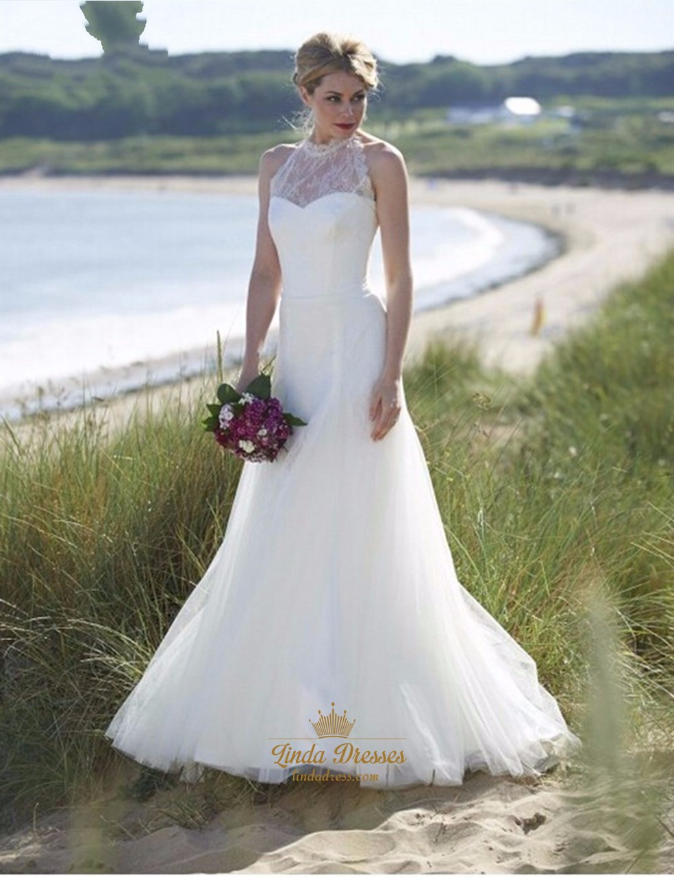 Elegant Illusion Lace Halter Tulle Skirt Wedding Dress With Open Back