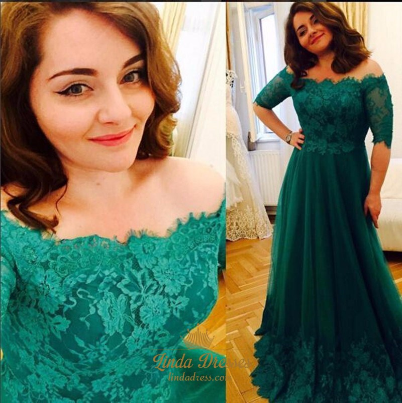 68cc9743c5 Emerald Green Off-The-Shoulder Half-Sleeve Lace Bodice Long Prom Dress SKU  -AP608
