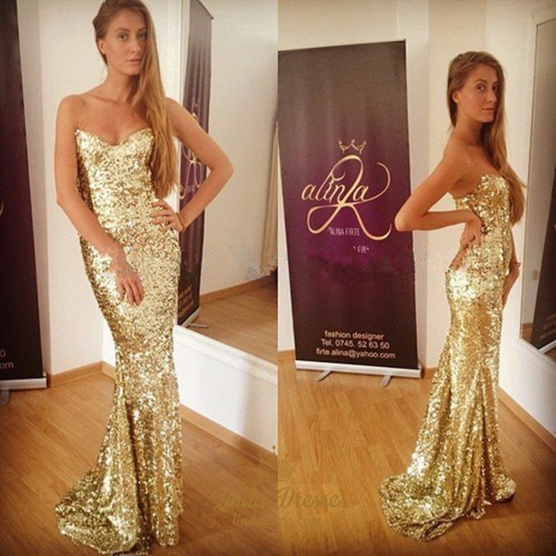 Simple Gold Sequin Strapless Sheath Floor-Length