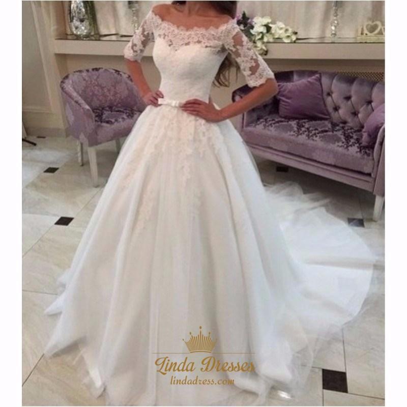 49e7f9f71d Elegant Half-Sleeve Off Shoulder Lace Bodice Ball Gown Wedding Dress SKU  -AP621