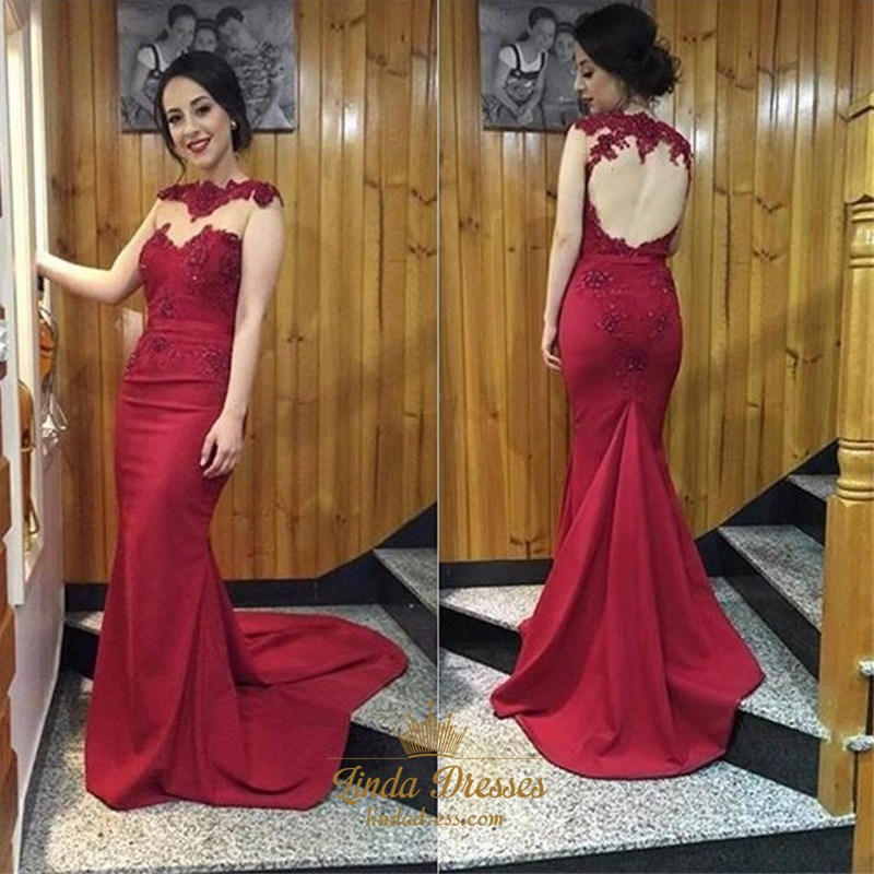dafee7c56e6 Burgundy Illusion Neckline Floor-Length Evening Gown With Keyhole Back SKU  -AP631