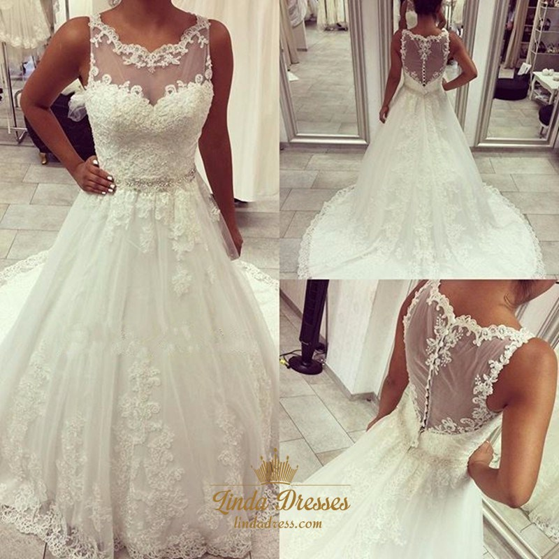 White Sleeveless Lace Embellished Wedding Dress With Sheer Neckline ...