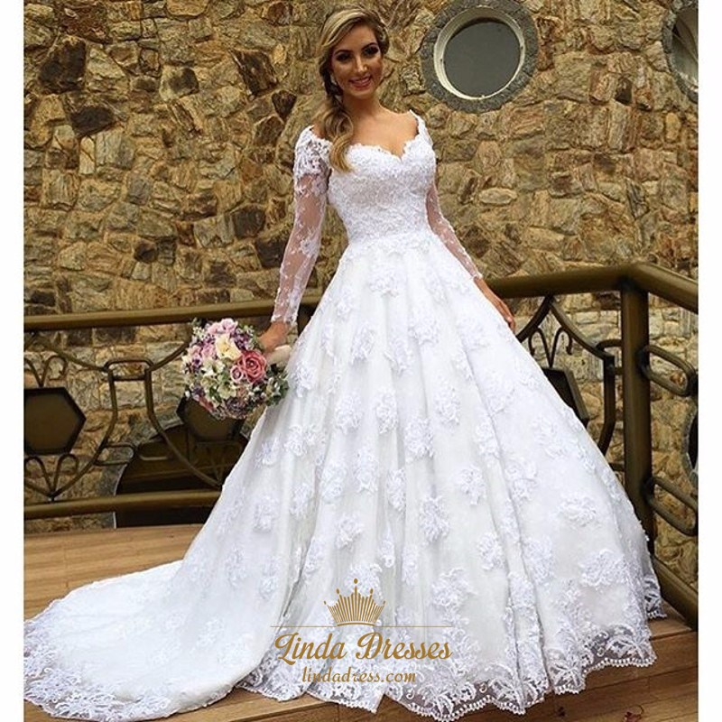 Off Shoulder V Neck Long Sleeve Lace Overlay Wedding Dress With Train