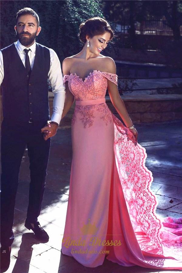 Elegant Pink Off Shoulder Lace Embellished Long Prom Dress With ...