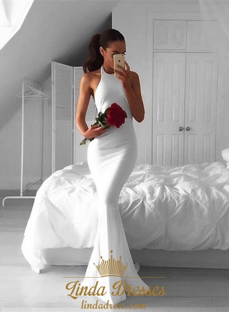 40e6cf8ad9c4 White Halter Sleeveless Floor-Length Mermaid Prom Dress With Open Back SKU  -AP746