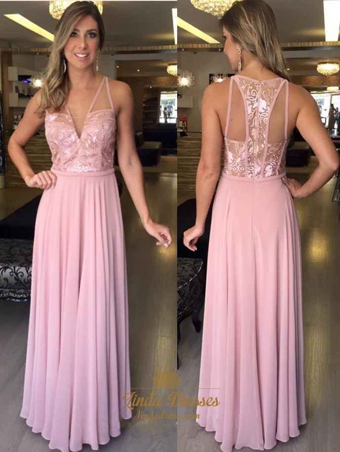 A-Line Sleeveless V-Neck Chiffon Long Prom Dress With Illusion ...