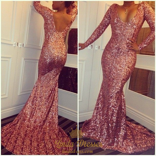 792abd37fc7 Pink Sequin Long Sleeve Deep V-Neck Mermaid Floor Length Prom Dress SKU  -AP787