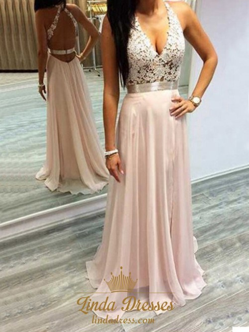 Light Pink Chiffon Sleeveless A Line Long Prom Dress With Lace Bodice