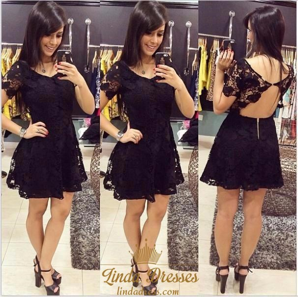 Short Sleeve Illusion Lace A Line Little Black Dress With Open Back