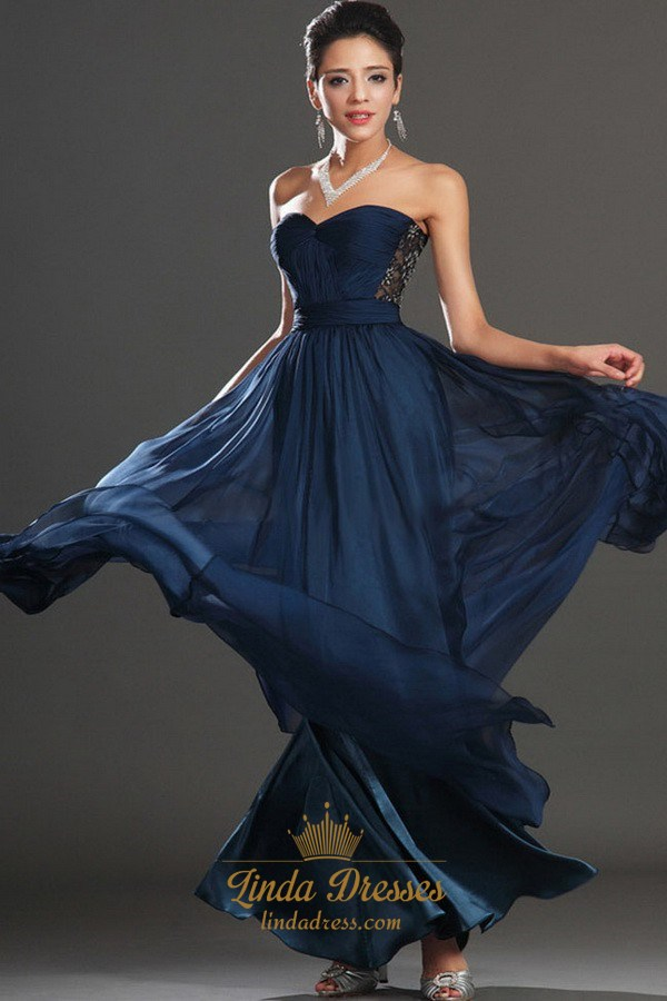 chiffon floor length prom dress strapless
