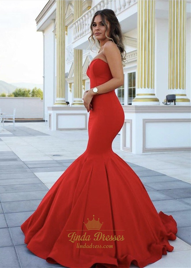 Red Elegant Simple Strapless Sweetheart Mermaid Ball Gown Prom Dress SKU  -AP885 3d526596a310
