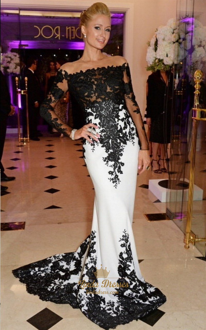 572a4a4ac44f Black And White Off Shoulder Lace Embellished Mermaid Long Prom Dress SKU  -AP1004