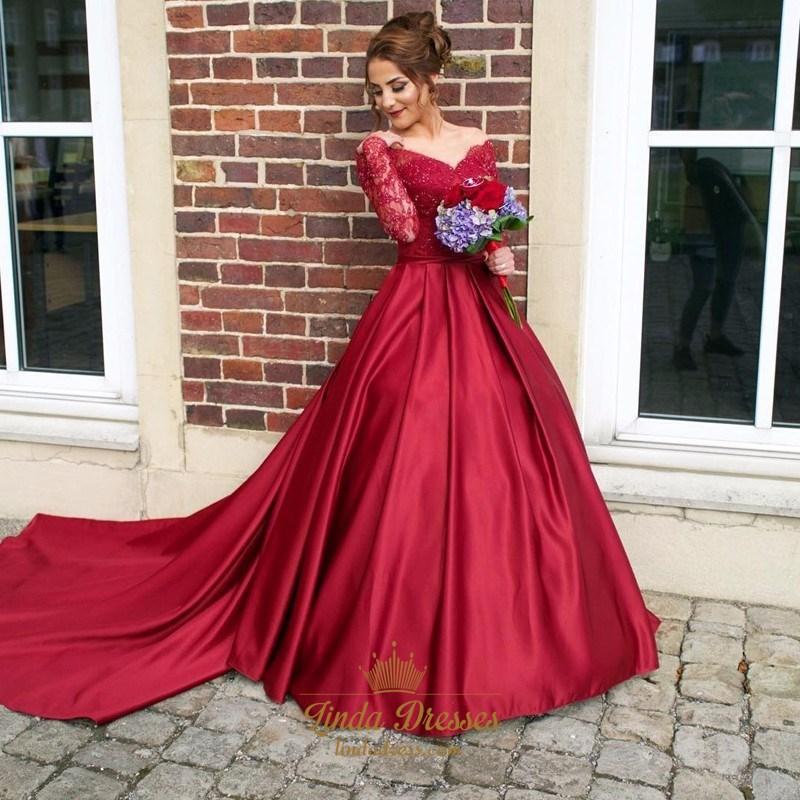 6c4336ffb724 Burgundy Off The Shoulder V-Neck Long Sleeve Wedding Dress With Train SKU  -AP1018