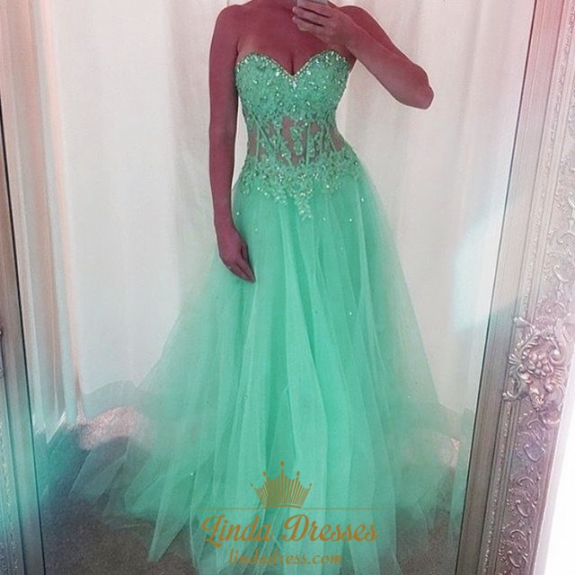Mint Green Strapless Corset Bodice Tulle A-Line Floor-Length Prom ...