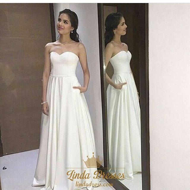 Simple Elegant White Strapless Sweetheart A-Line Chiffon Evening ...