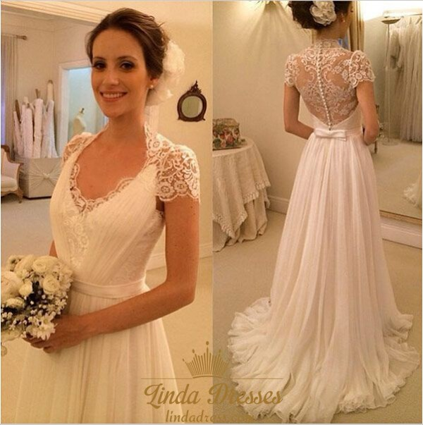 Short Sleeve V-Neck A-Line Chiffon Wedding Dress With Illusion ...