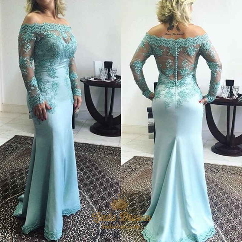 3cd7d58ef0 Long Sleeve Off-The-Shoulder Illusion Lace Bodice Mermaid Prom Dress SKU  -AP1179