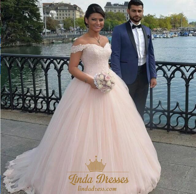 Blush Pink Off-The-Shoulder Lace Bodice Tulle Ball Gown Wedding ...