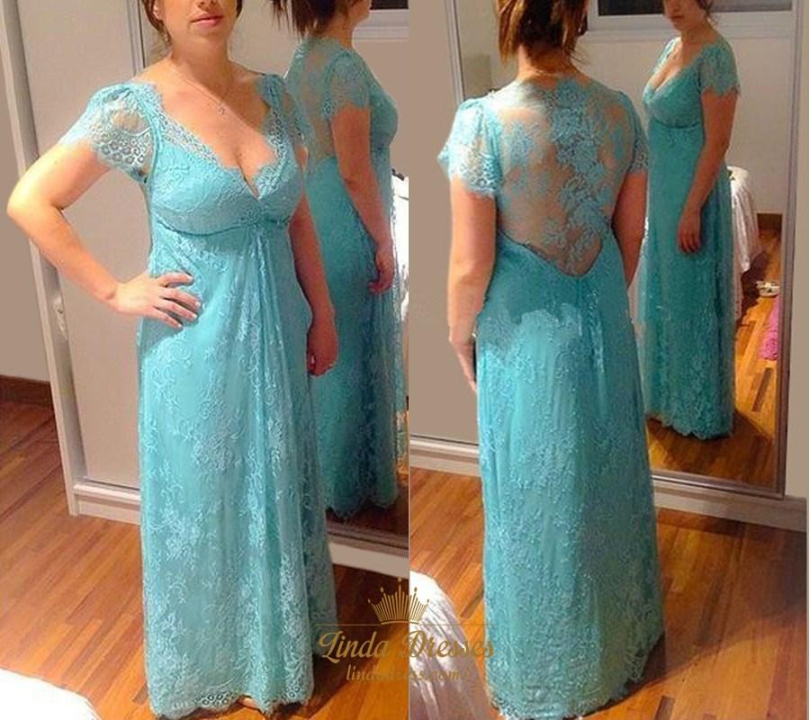 e3e540f1747 Elegant V Neck Cap Sleeve Lace A-Line Prom Dress With Illusion Back SKU  -AP1199