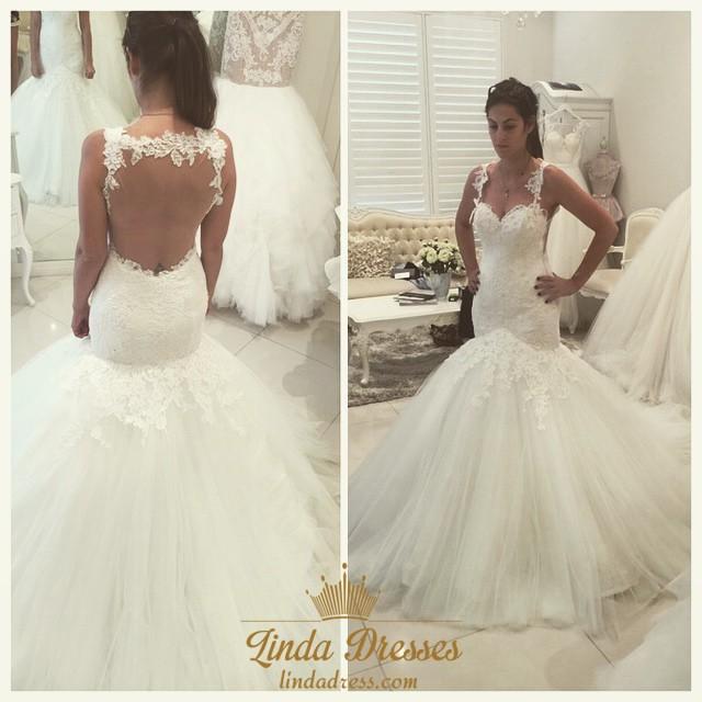 Backless Sleeveless Sweetheart Tulle Mermaid Ball Gown Wedding Dress ...