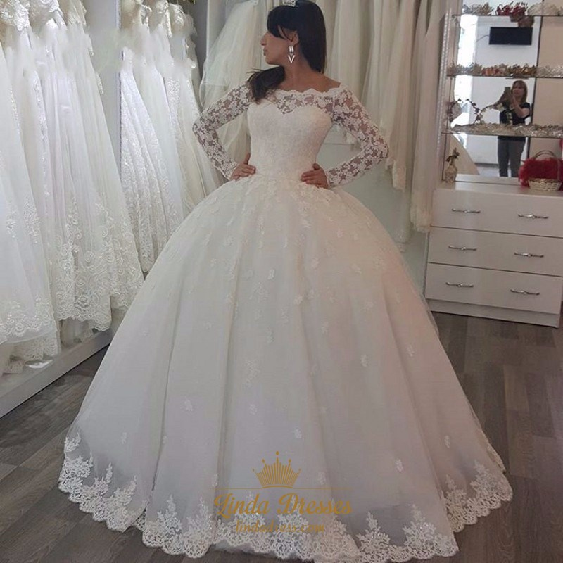 Elegant Lace Applique Tulle Ball Gown Wedding Dress With Long Sleeves Linda Dress,Summer Floral Dresses For Weddings