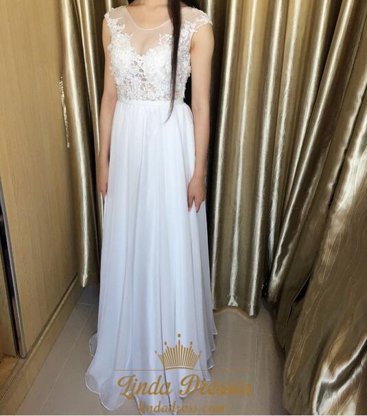 bf9546b0c3e White Illusion Cap Sleeve Chiffon Long Prom Dress With Keyhole Back SKU  -AP1207