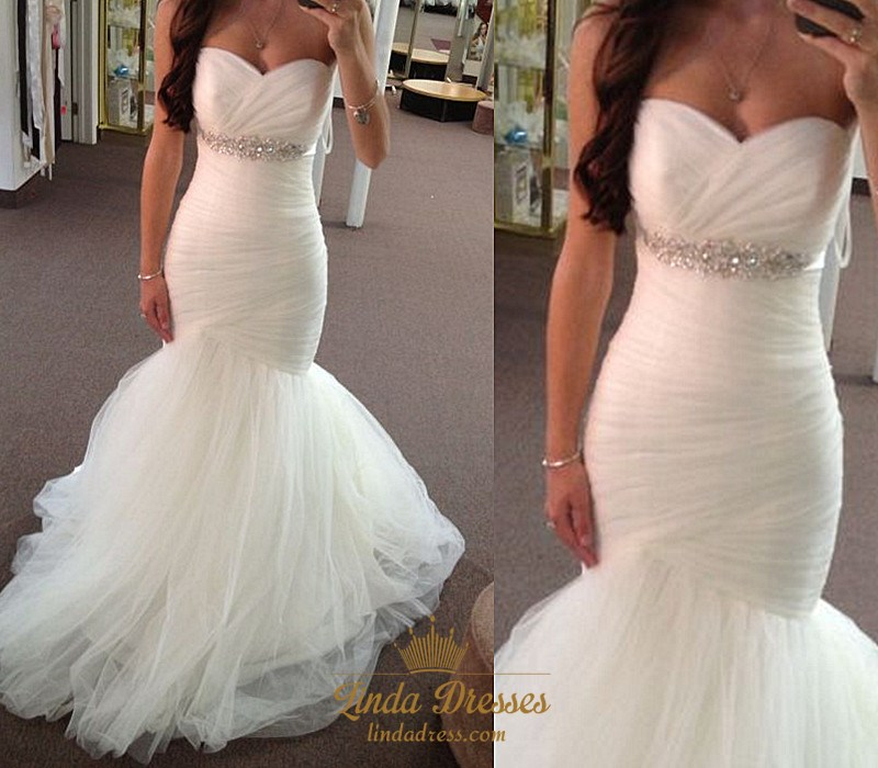 White Floor Length Strapless Ruched Bodice Tulle Mermaid Wedding