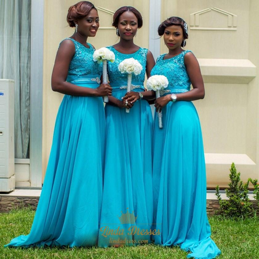 d0656b0b17 A-Line Sleeveless Lace Bodice Chiffon Bottom Long Bridesmaid Dress SKU  -AP1219