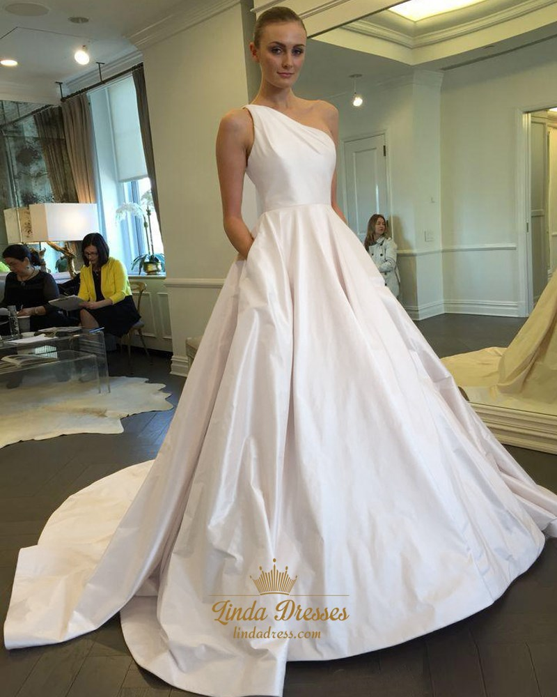 Simple One Shoulder A Line Floor Length Satin Ball Gown Wedding